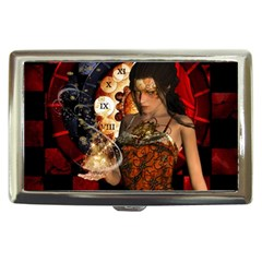 Steampunk, Beautiful Steampunk Lady With Clocks And Gears Cigarette Money Cases