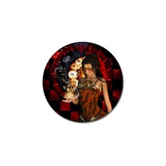 Steampunk, Beautiful Steampunk Lady With Clocks And Gears Golf Ball Marker (4 Pack)