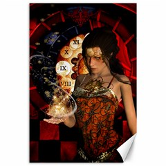 Steampunk, Beautiful Steampunk Lady With Clocks And Gears Canvas 24  X 36