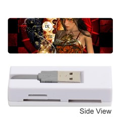 Steampunk, Beautiful Steampunk Lady With Clocks And Gears Memory Card Reader (stick)