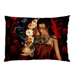Steampunk, Beautiful Steampunk Lady With Clocks And Gears Pillow Case (two Sides)