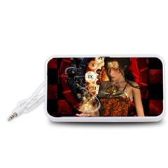 Steampunk, Beautiful Steampunk Lady With Clocks And Gears Portable Speaker (white)