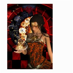 Steampunk, Beautiful Steampunk Lady With Clocks And Gears Small Garden Flag (two Sides)