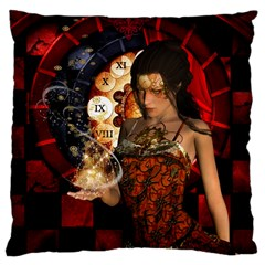 Steampunk, Beautiful Steampunk Lady With Clocks And Gears Large Cushion Case (two Sides)