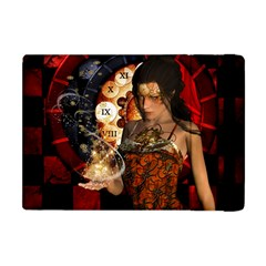 Steampunk, Beautiful Steampunk Lady With Clocks And Gears Apple Ipad Mini Flip Case