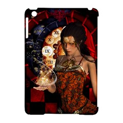Steampunk, Beautiful Steampunk Lady With Clocks And Gears Apple Ipad Mini Hardshell Case (compatible With Smart Cover)
