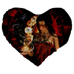 Steampunk, Beautiful Steampunk Lady With Clocks And Gears Large 19  Premium Heart Shape Cushions