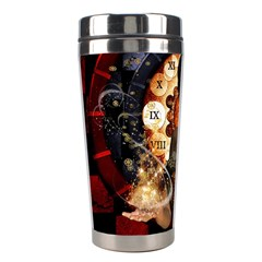 Steampunk, Beautiful Steampunk Lady With Clocks And Gears Stainless Steel Travel Tumblers
