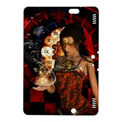 Steampunk, Beautiful Steampunk Lady With Clocks And Gears Kindle Fire Hdx 8 9  Hardshell Case