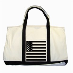 Flag Of Usa Black Two Tone Tote Bag