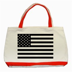 Flag Of Usa Black Classic Tote Bag (red)