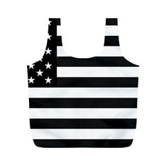 Flag Of Usa Black Full Print Recycle Bags (m)