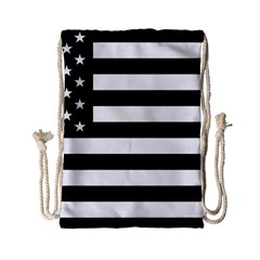 Flag Of Usa Black Drawstring Bag (small)
