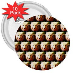 Cute Animal Drops   Wolf 3  Buttons (10 Pack)