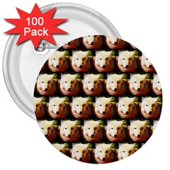 Cute Animal Drops   Wolf 3  Buttons (100 Pack)