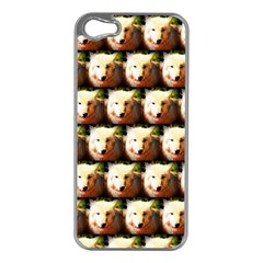 Cute Animal Drops   Wolf Apple Iphone 5 Case (silver)