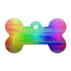 Colors Rainbow Pattern Dog Tag Bone (two Sides)