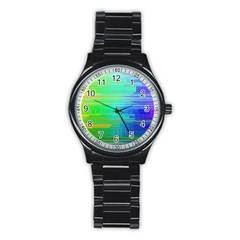 Colors Rainbow Pattern Stainless Steel Round Watch