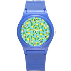 Lemon Pattern Round Plastic Sport Watch (s)