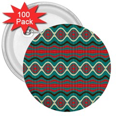 Ethnic Geometric Pattern 3  Buttons (100 Pack)
