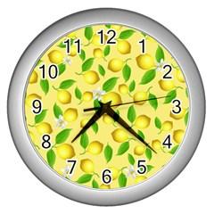 Lemon Pattern Wall Clocks (silver)