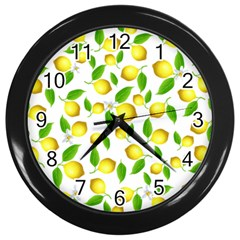Lemon Pattern Wall Clocks (black)