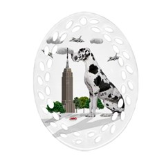 Great Dane Oval Filigree Ornament (two Sides)