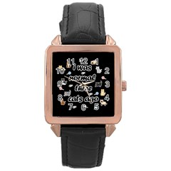 I Was Normal Three Cats Ago Rose Gold Leather Watch