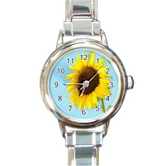 Sunflower Round Italian Charm Watch