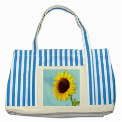 Sunflower Striped Blue Tote Bag
