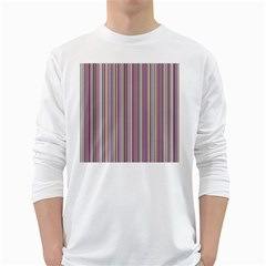 Lines White Long Sleeve T Shirts