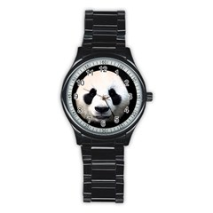 Panda Face Stainless Steel Round Watch
