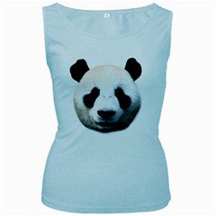 Panda Face Women s Baby Blue Tank Top