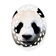 Panda Face Oval Filigree Ornament (two Sides)