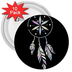 Dreamcatcher  3  Buttons (10 Pack)
