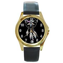 Dreamcatcher  Round Gold Metal Watch