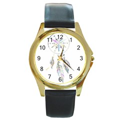Dreamcatcher  Round Gold Metal Watch