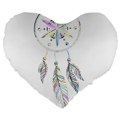 Dreamcatcher  Large 19  Premium Flano Heart Shape Cushions