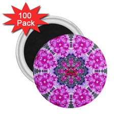 Fantasy Cherry Flower Mandala Pop Art 2 25  Magnets (100 Pack)