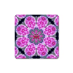 Fantasy Cherry Flower Mandala Pop Art Square Magnet