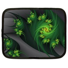 Abstraction Embrace Fractal Flowers Gray Green Plant  Netbook Case (large)
