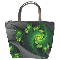 Abstraction Embrace Fractal Flowers Gray Green Plant  Bucket Bags