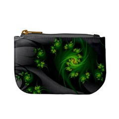Abstraction Embrace Fractal Flowers Gray Green Plant  Mini Coin Purses