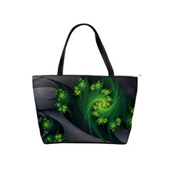 Abstraction Embrace Fractal Flowers Gray Green Plant  Shoulder Handbags