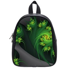 Abstraction Embrace Fractal Flowers Gray Green Plant  School Bag (small)