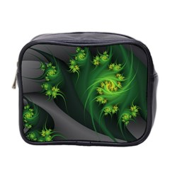 Abstraction Embrace Fractal Flowers Gray Green Plant  Mini Toiletries Bag 2 Side