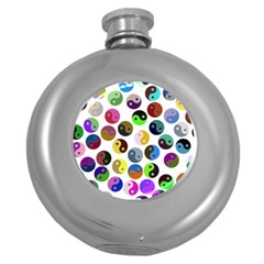 Multi Ying Yang Round Hip Flask (5 Oz)