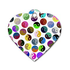 Multi Ying Yang Dog Tag Heart (one Side)