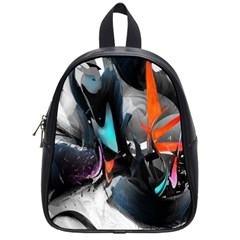 Lines Spray Brush Paint Color  School Bag (small)