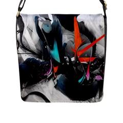 Lines Spray Brush Paint Color  Flap Messenger Bag (l)